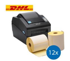 Lot d'initiation DHL : Bixolon imprimante SLP-DX420G + 12 rouleaux d'étiquettes compatibles 102mm x 210mm