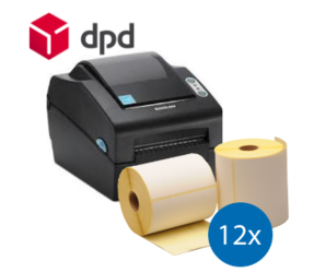 Lot d'initiation DPD : Bixolon imprimante SLP-DX420G + 12 rouleaux d'étiquettes compatibles 102mm x 150mm