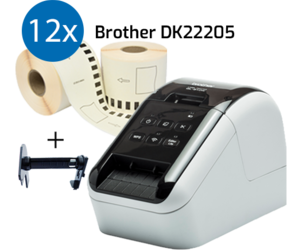 Stampante Brother QL810W + 12 rotoli Brother DK-22205 con etichette compatibili